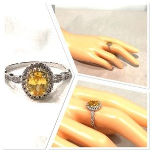 NWOT Sterling silver yellow/ clear cz ring